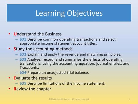 Learning Objectives Understand the Business – LO1 Describe common operating transactions and select appropriate income statement account titles. Study.