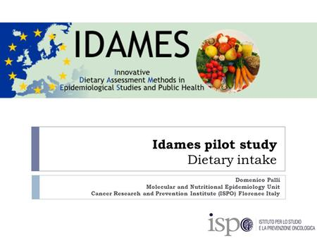 Idames pilot study Dietary intake Domenico Palli Molecular and Nutritional Epidemiology Unit Cancer Research and Prevention Institute (ISPO) Florence Italy.