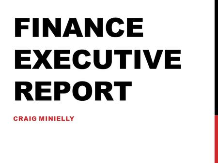 FINANCE EXECUTIVE REPORT CRAIG MINIELLY. SUMMER AS VP FINANCE MAYJUNE Similar format to May Made my self readily available at the office and had several.