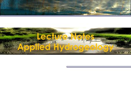 Lecture Notes Applied Hydrogeology