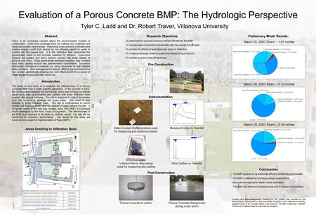 Tyler C. Ladd and Dr. Robert Traver, Villanova University Evaluation of a Porous Concrete BMP: The Hydrologic Perspective Funding and Acknowledgments: