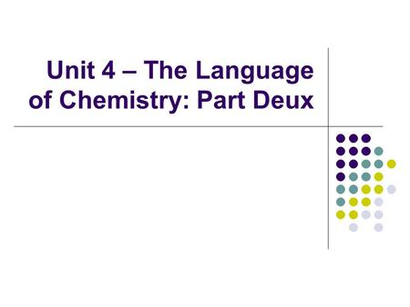 Unit 4 – The Language of Chemistry: Part Deux. Amadeo Avogadro II.B.2(f) – Describe Avogadro's hypothesis and use it to solve stoichiometric problems.