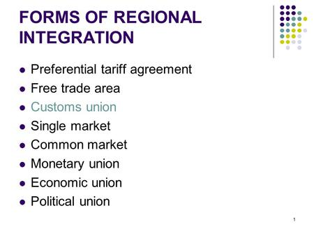 FORMS OF REGIONAL INTEGRATION
