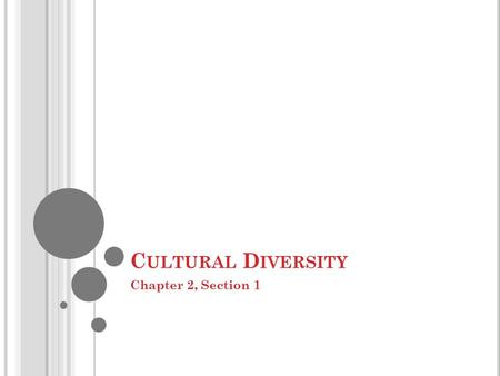 C ULTURAL D IVERSITY Chapter 2, Section 1. W HAT IS C ULTURE ? Culture, the shared products of human groups, comes in two forms- material and nonmaterial.