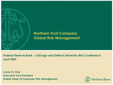 Federal Reserve Bank - Chicago and DePaul University Risk Conference April 2009 Joyce St. Clair Executive Vice President Global Head of Corporate Risk.
