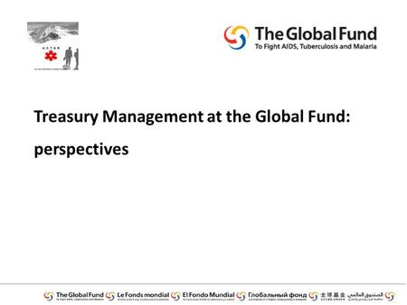 Treasury Management at the Global Fund: perspectives.