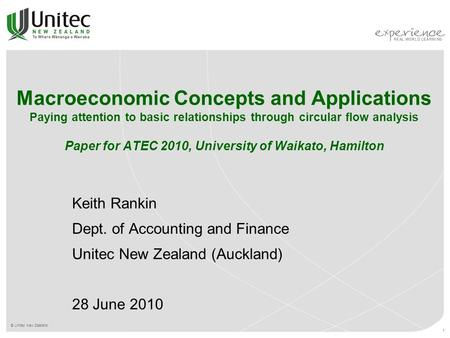 © Unitec New Zealand 1 Macroeconomic Concepts and Applications Paying attention to basic relationships through circular flow analysis Paper for ATEC 2010,