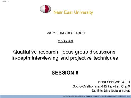Naresh Malhotra and David Birks, Marketing Research, 3 rd Edition, © Pearson Education Limited 2007 Slide 7.1 MARKETING RESEARCH MARK 401 Qualitative research: