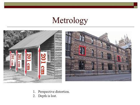 Metrology 1.Perspective distortion. 2.Depth is lost.