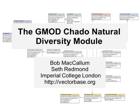 The GMOD Chado Natural Diversity Module Bob MacCallum Seth Redmond Imperial College London