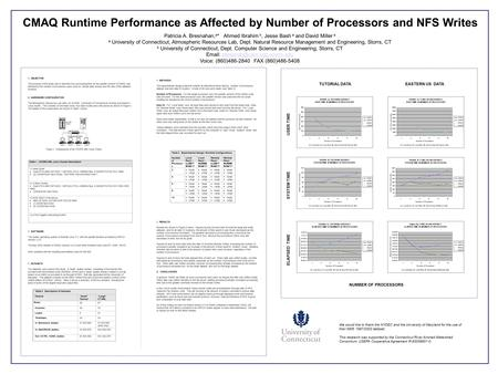 CMAQ Runtime Performance as Affected by Number of Processors and NFS Writes Patricia A. Bresnahan, a * Ahmed Ibrahim b, Jesse Bash a and David Miller a.