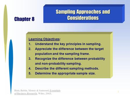 1 Hair, Babin, Money & Samouel, Essentials of Business Research, Wiley, 2003. Learning Objectives: 1.Understand the key principles in sampling. 2.Appreciate.