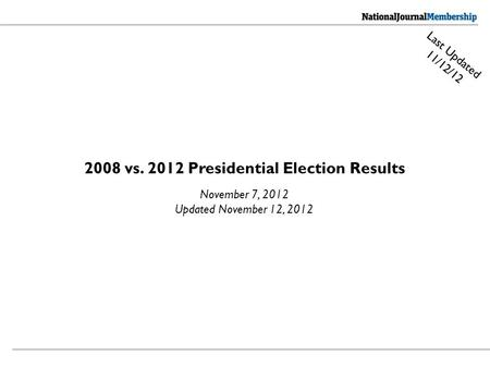 2008 vs. 2012 Presidential Election Results November 7, 2012 Updated November 12, 2012 Last Updated 11/12/12.