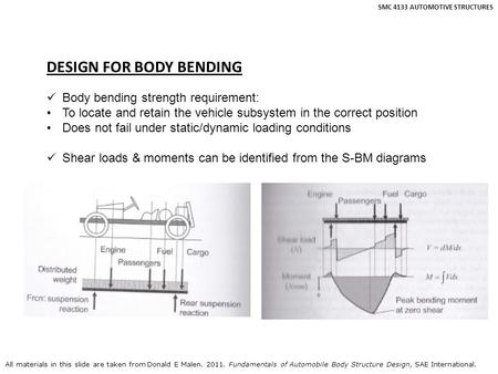 SMC 4133 AUTOMOTIVE STRUCTURES DESIGN FOR BODY BENDING Body bending strength requirement: To locate and retain the vehicle subsystem in the correct position.