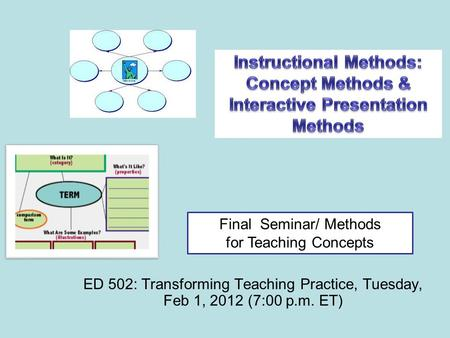 ED 502: Transforming Teaching Practice, Tuesday, Feb 1, 2012 (7:00 p.m. ET) Final Seminar/ Methods for Teaching Concepts.