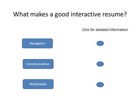 What makes a good interactive resume? Click for detailed information Multimedia Navigation Communication.