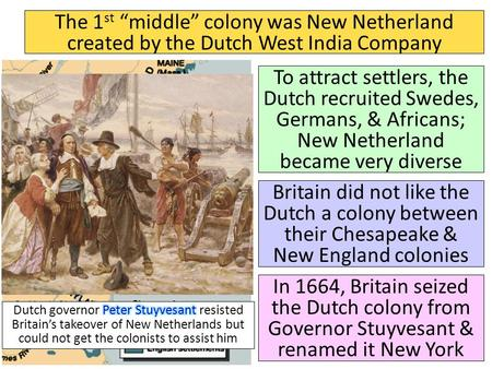 "The 1 st ""middle"" colony was New Netherland created by the Dutch West India Company To attract settlers, the Dutch recruited Swedes, Germans, & Africans;"