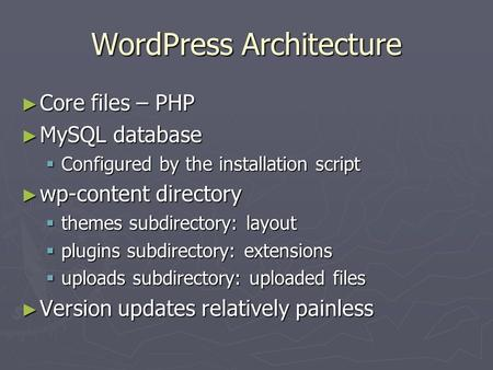 WordPress Architecture ► Core files – PHP ► MySQL database  Configured by the installation script ► wp-content directory  themes subdirectory: layout.