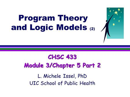 Program Theory and Logic Models (2) CHSC 433 Module 3/Chapter 5 Part 2 L. Michele Issel, PhD UIC School of Public Health.