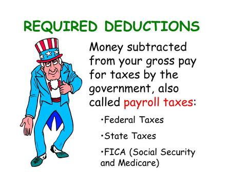 REQUIRED DEDUCTIONS Money subtracted from your gross pay for taxes by the government, also called payroll taxes: Federal Taxes State Taxes FICA (Social.