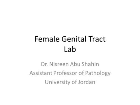 Female Genital Tract Lab Dr. Nisreen Abu Shahin Assistant Professor of Pathology University of Jordan.