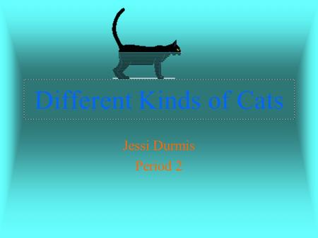 Different Kinds of Cats Jessi Durmis Period 2. The Abyssinian It is a short haired cat It originated from Eygpt Their coat ranges from white, gray, brown,&