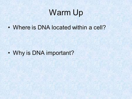 Warm Up Where is DNA located within a cell? Why is DNA important?