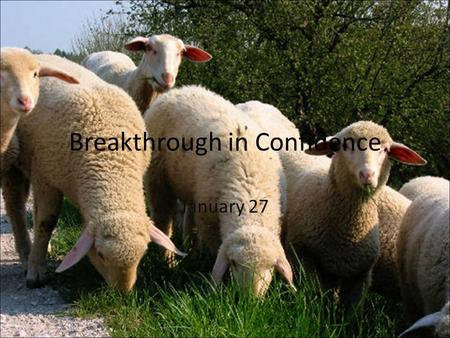 Breakthrough in Confidence January 27. Think About It … What kinds of things tend to attack our confidence? As we face a variety of challenges in the.