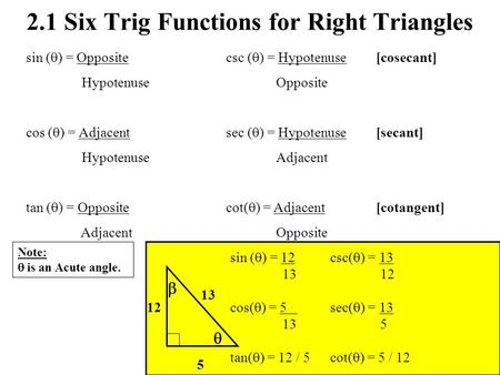 2.1 Six Trig Functions for Right Triangles