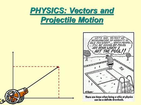 PHYSICS: Vectors and Projectile Motion. Today's Goals Students will: 1.Be able to describe the difference between a vector and a scalar. 2.Be able to.