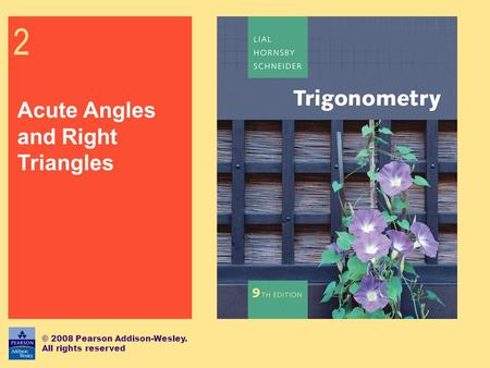 2 Acute Angles and Right Triangles © 2008 Pearson Addison-Wesley. All rights reserved.
