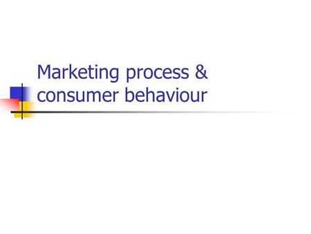 Marketing process & consumer behaviour Key Topics Definition of marketing The external marketing environment Segmentation and target marketing The consumer.