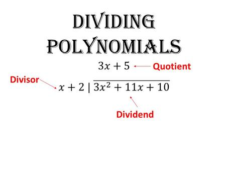Divisor Dividend Quotient. Divide Dividing Polynomials Long division 1)Write as a long division problem. 2)Focusing on the front term, figure out what.