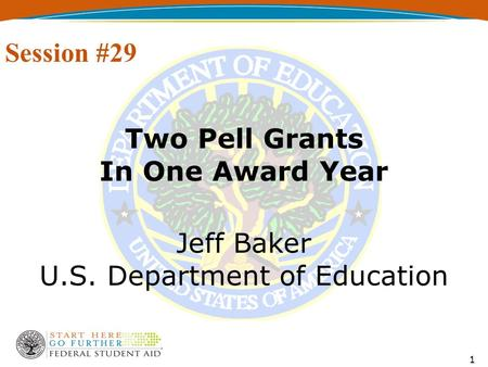 1 Two Pell Grants In One Award Year Jeff Baker U.S. Department of Education Session #29.