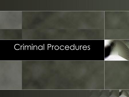 Criminal Procedures Pre Trial Procedures. Overview oCriminal Seizure and Investigation oArrest and Detention oInterrogation of the Accused oElection of.