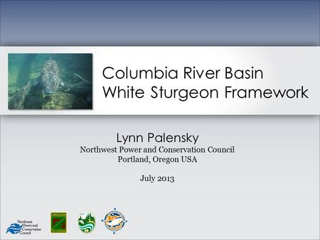 Columbia River Basin White Sturgeon Framework Lynn Palensky Northwest Power and Conservation Council Portland, Oregon USA July 2013.