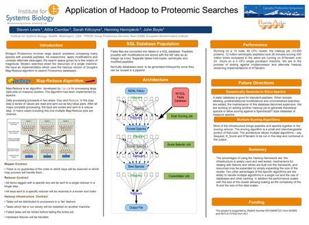 Application of Hadoop to Proteomic Searches Steven Lewis 1, Attila Csordas 2, Sarah Killcoyne 1, Henning Hermjakob 2, John Boyle 1 1 Institute for Systems.