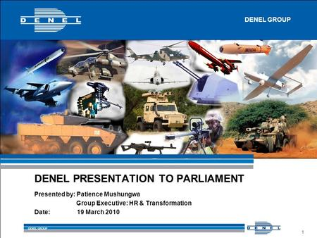 DENEL GROUP 1 Presented by: Patience Mushungwa Group Executive: HR & Transformation Date: 19 March 2010 DENEL PRESENTATION TO PARLIAMENT DENEL GROUP.