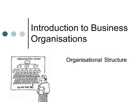 Introduction to Business Organisations Organisational Structure.