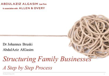 © Allen & Overy 2011 1 Dr Johannes Bruski AbdulAziz AlGasim Structuring Family Businesses A Step by Step Process.