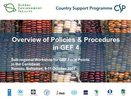 Click to edit Master title style Click to edit Master subtitle style Overview of Policies & Procedures in GEF 4 Sub-regional Workshop for GEF Focal Points.