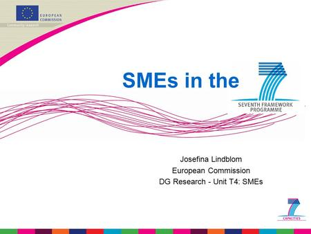 Josefina Lindblom European Commission DG Research - Unit T4: SMEs SMEs in the.