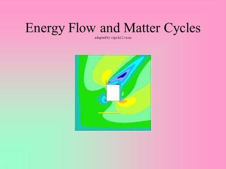 Energy Flow and Matter Cycles adapted by ccps.k12.va.us.