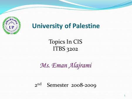 1 University of Palestine Topics In CIS ITBS 3202 Ms. Eman Alajrami 2 nd Semester 2008-2009.