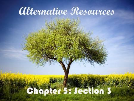 Alternative Resources Chapter 5: Section 3 Target Material: Alternative Energy Resources NuclearSolarWindHydroelectric Biological Matter GeothermalVocabulary.