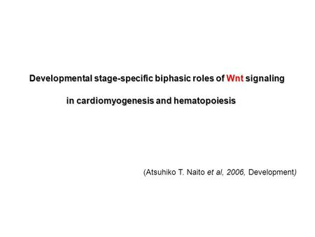 Developmental stage-specific biphasic roles of Wnt signaling in cardiomyogenesis and hematopoiesis (Atsuhiko T. Naito et al, 2006, Development)
