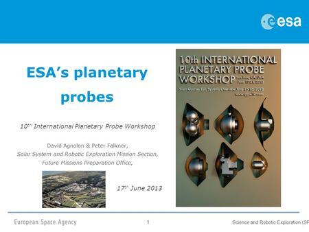 1 Science and Robotic Exploration (SRE) ESA's planetary probes 10 th International Planetary Probe Workshop David Agnolon & Peter Falkner, Solar System.