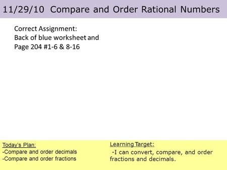California Standards Ns11 Compare And Order Positive And Negative