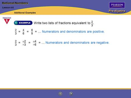 Pre-Algebra Rational Numbers Lesson 4-6 Write two lists of fractions equivalent to. 2323 2323 4646 6969 = = = … Numerators and denominators are positive.=
