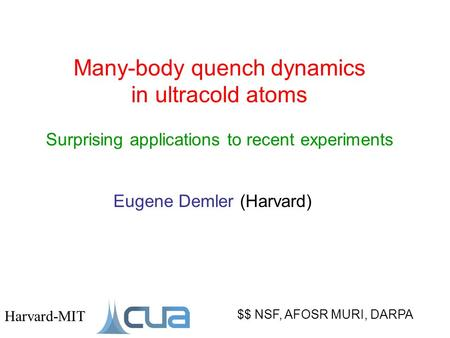 Many-body quench dynamics in ultracold atoms Surprising applications to recent experiments $$ NSF, AFOSR MURI, DARPA Harvard-MIT Eugene Demler (Harvard)